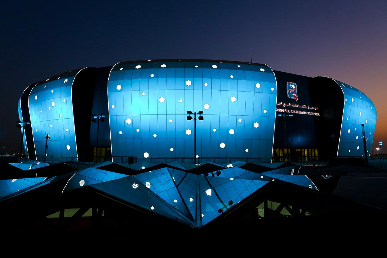 Complexe de l'association de handball du Qatar bleu